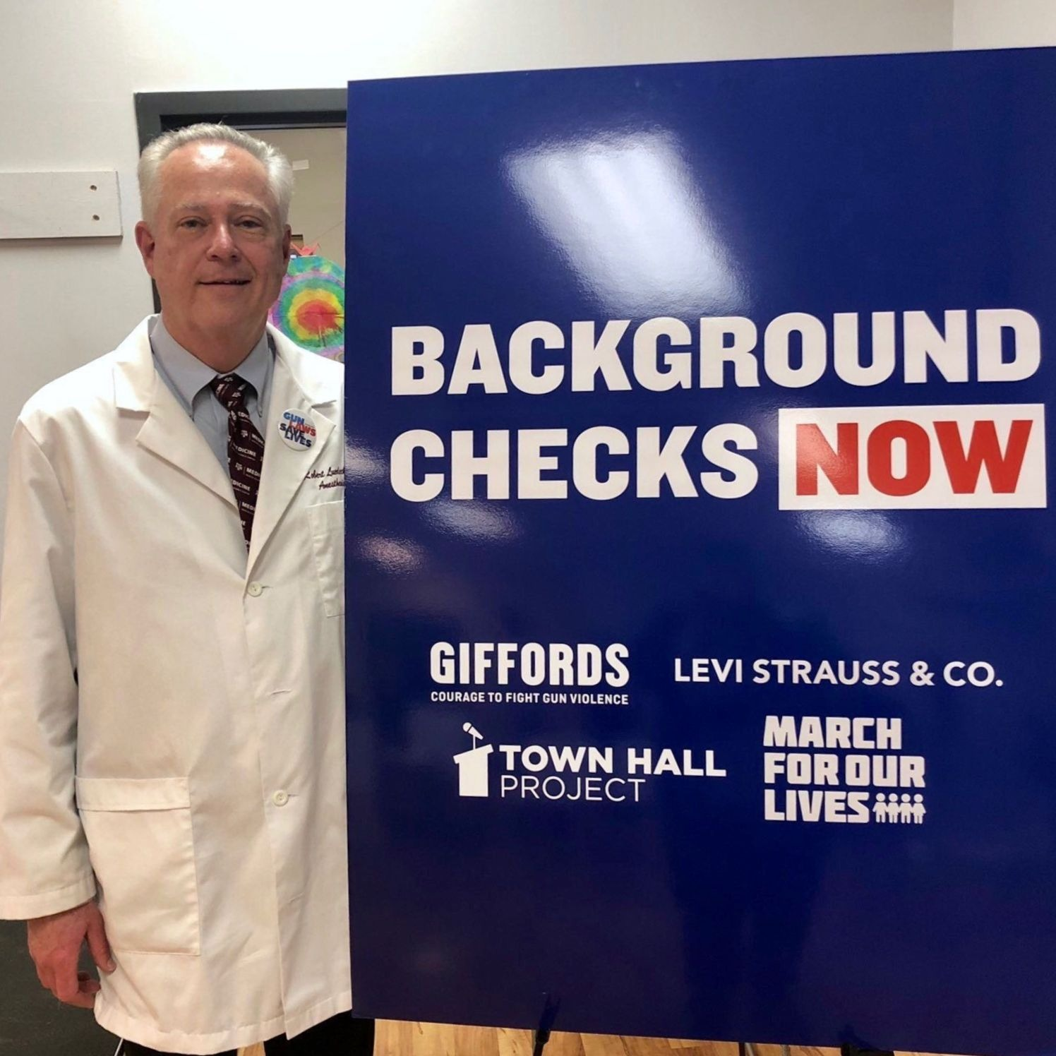 Dr. Robert Luedecke joined the Austin Town Hall to call on Congress to pass universal background checks.