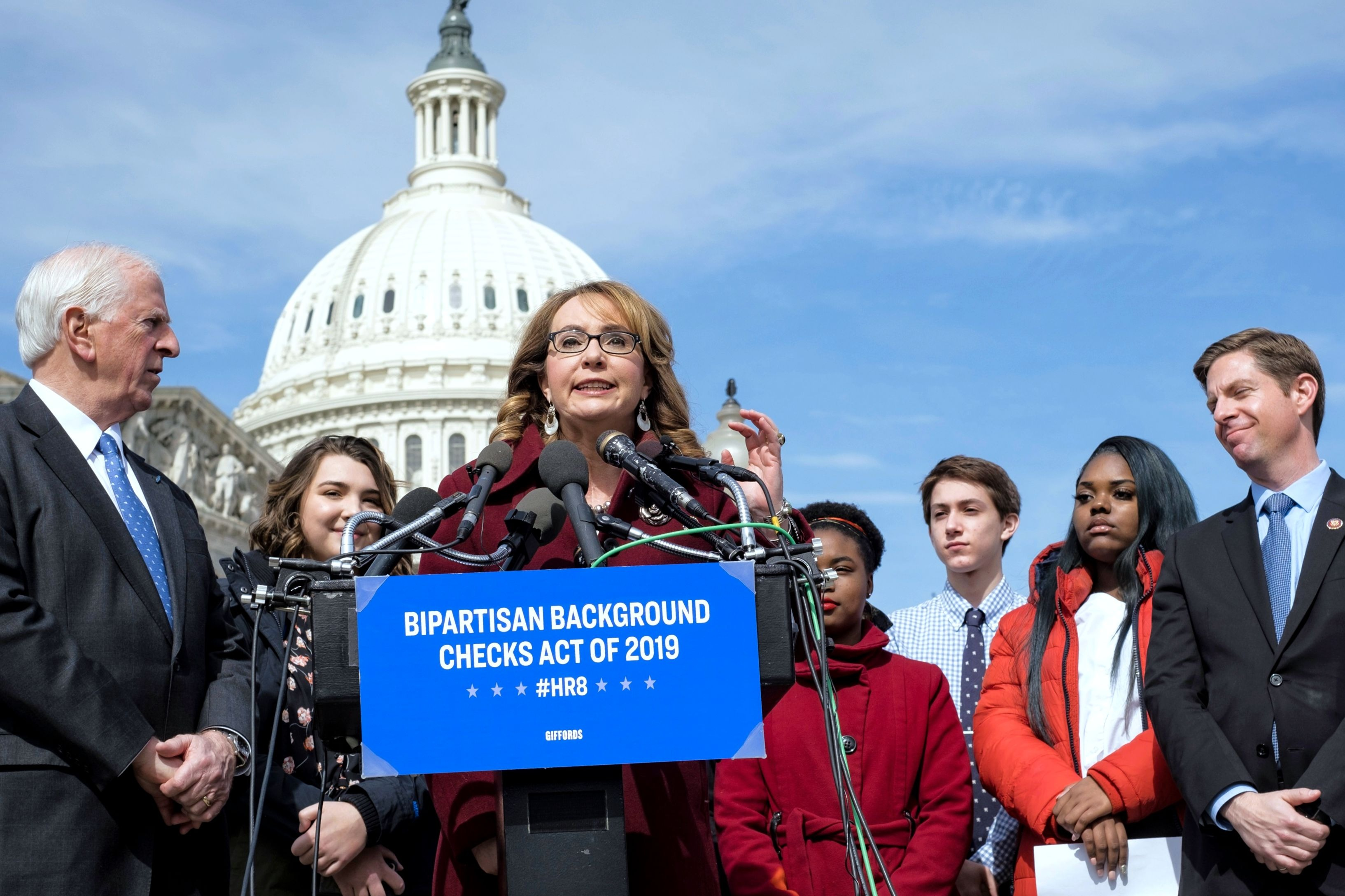 On Tuesday, February 26, former Rep. Gabrielle Giffords, lawmakers, and student leaders from across the country called on Congress to pass the background checks legislation.