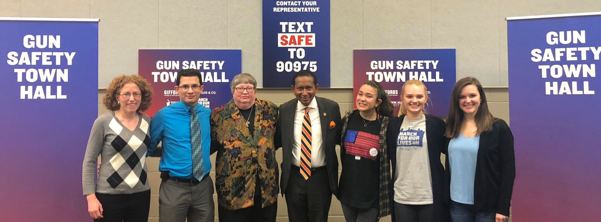 Rebecca Ceartas of North Carolinians Against Gun Violence, Dr. Brian Eichner of the American Academy of Pediatrics, gun violence survivor Kim Yaman, State Senator and gun violence survivor Floyd McKissick, Lauren Smith and Alyssa Morales of March For Our Lives Raleigh, and Katherine Phillips of Giffords discussed the importance of passing H.R. 8.